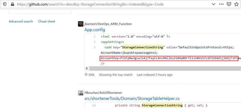 Azure storage keys can be found on github